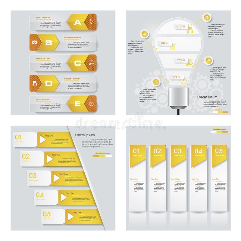 Colección de 4 plantillas del color/gráficos o disposiciones amarillos del sitio web Fondo del vector stock de ilustración