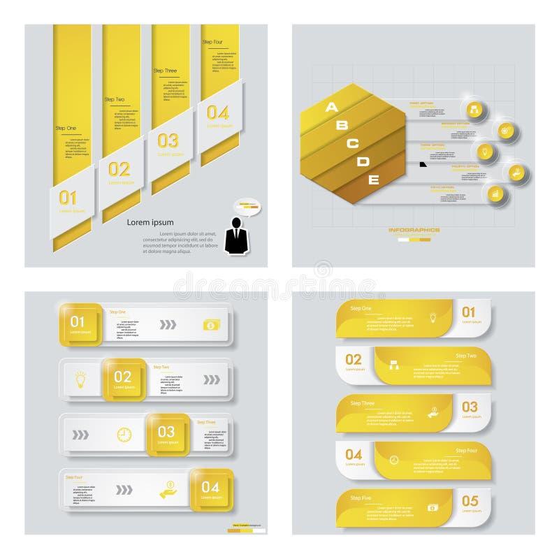 Colección de 4 plantillas del color/gráficos o disposiciones amarillos del sitio web Fondo del vector libre illustration
