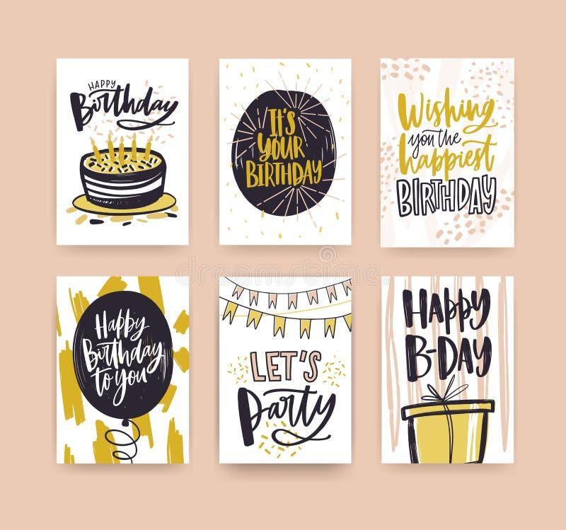 Colección de plantillas de la tarjeta de felicitación del cumpleaños adornadas con los deseos manuscritos y los elementos festivo ilustración del vector