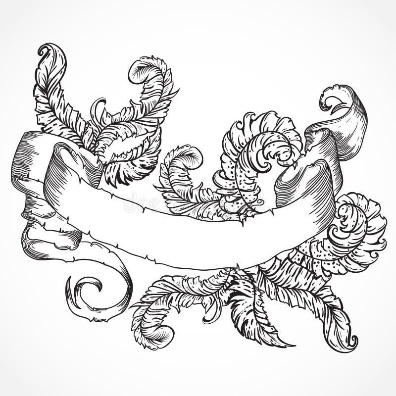 Colección de plumas y de bandera de la cinta Sistema del vintage del elemento dibujado mano blanco y negro del diseño del tatuaje stock de ilustración