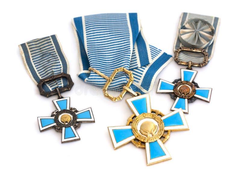 Colección de premios de los deportes del estado de Finlandia Kouvola, el 21 de julio de 2015 foto de archivo