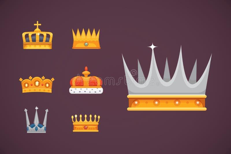 Colección de premios de los iconos de la corona para los ganadores, campeones, dirección Rey real, reina, coronas de la princesa libre illustration