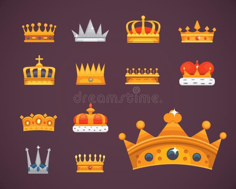 Colección de premios de los iconos de la corona para los ganadores, campeones, dirección Rey real, reina, coronas de la princesa ilustración del vector