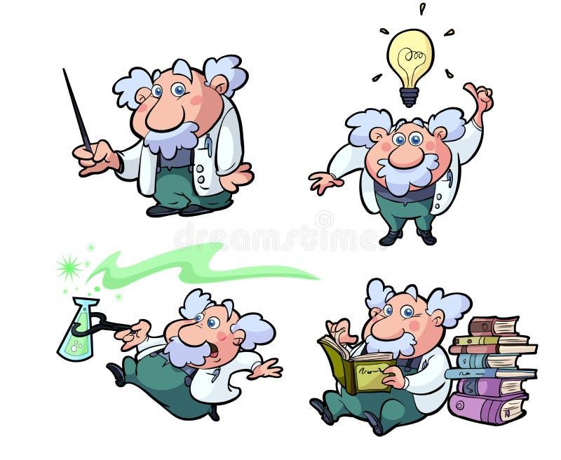 colección de profesores de la ciencia de la historieta de la diversión ilustración del vector