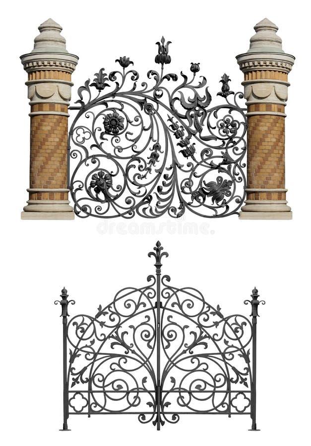 Colección de puerta forjada y de cedazo decorativo ilustración del vector