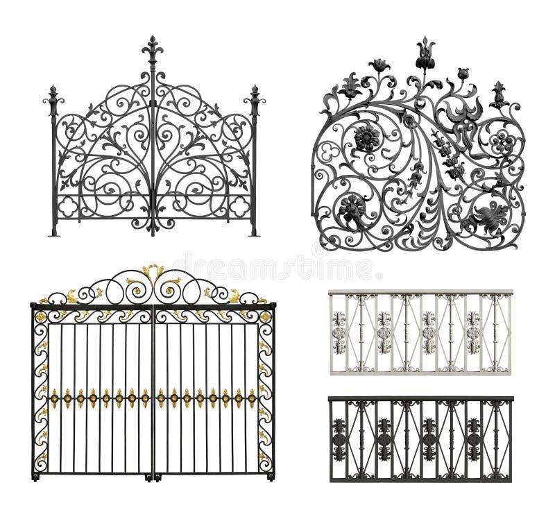 Colección de puertas forjadas y de cedazo decorativo libre illustration