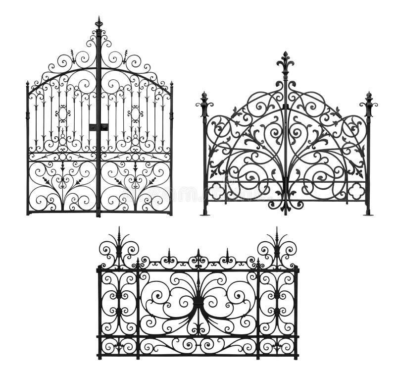 Colección de puertas forjadas y de cedazo decorativo fotos de archivo libres de regalías