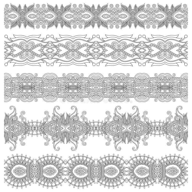 Download Colección De Rayas Florales Ornamentales Inconsútiles, Ilustración del Vector - Ilustración de frieze, diseño: 44851095