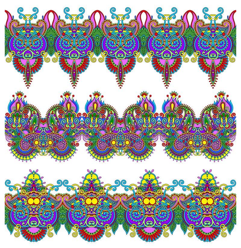 Download Colección De Rayas Florales Ornamentales Inconsútiles Ilustración del Vector - Ilustración de pinstripe, damasco: 44856530