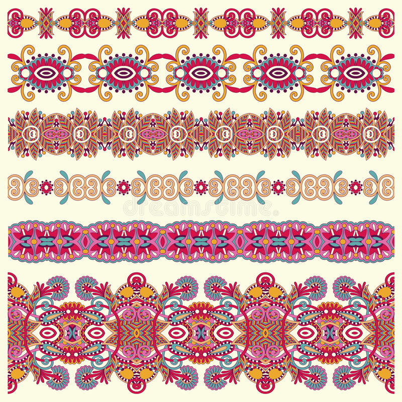 Colección de rayas florales ornamentales inconsútiles ilustración del vector