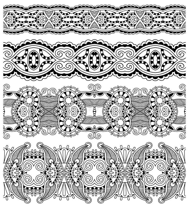 Colección de rayas florales ornamentales inconsútiles, stock de ilustración