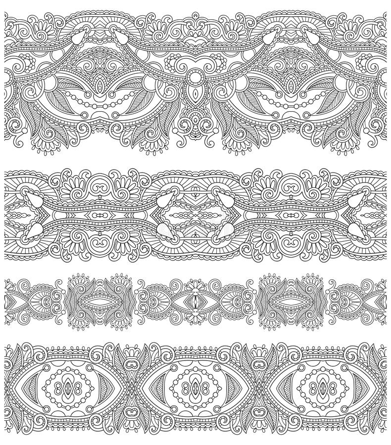 Colección de rayas florales ornamentales inconsútiles, libre illustration
