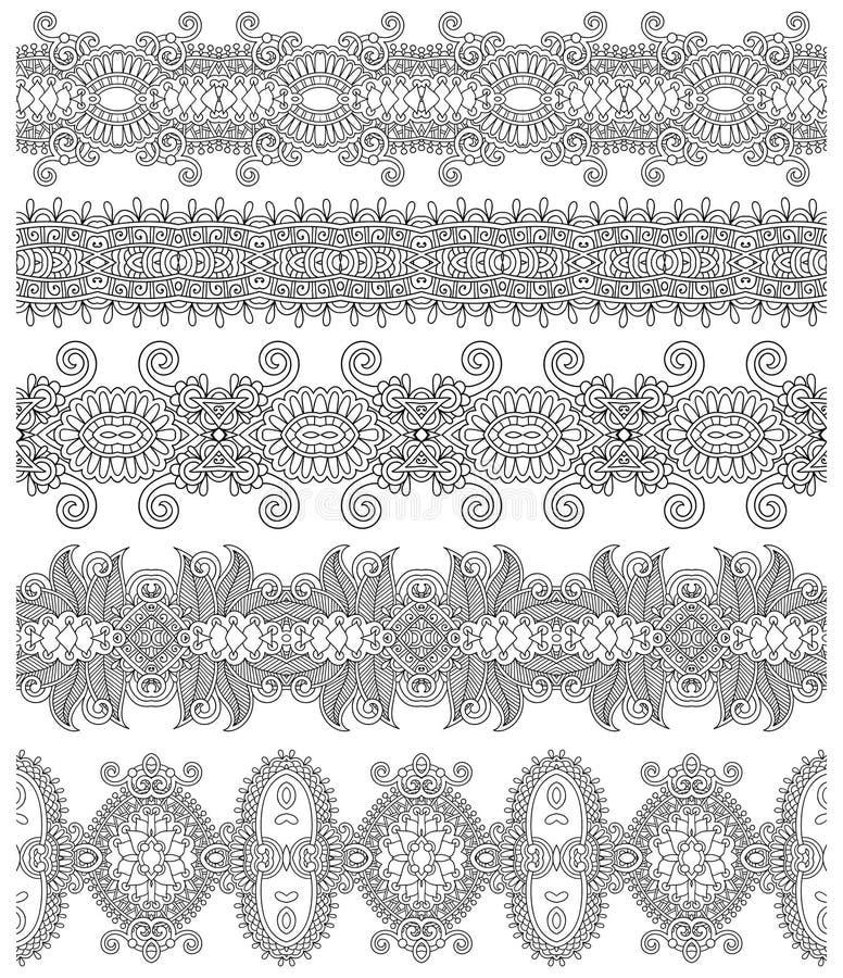 Colección de rayas florales ornamentales inconsútiles, ilustración del vector