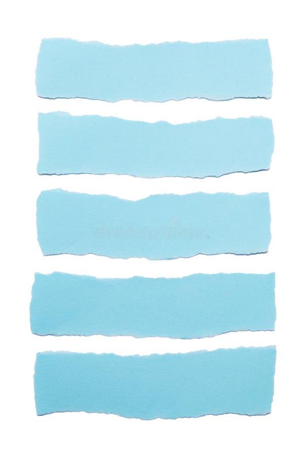 Colección de rayas de papel azules con los bordes rasgados aislados en el fondo blanco fotos de archivo libres de regalías