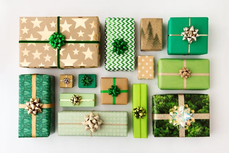 Colección de regalos de Navidad, vista aérea fotos de archivo