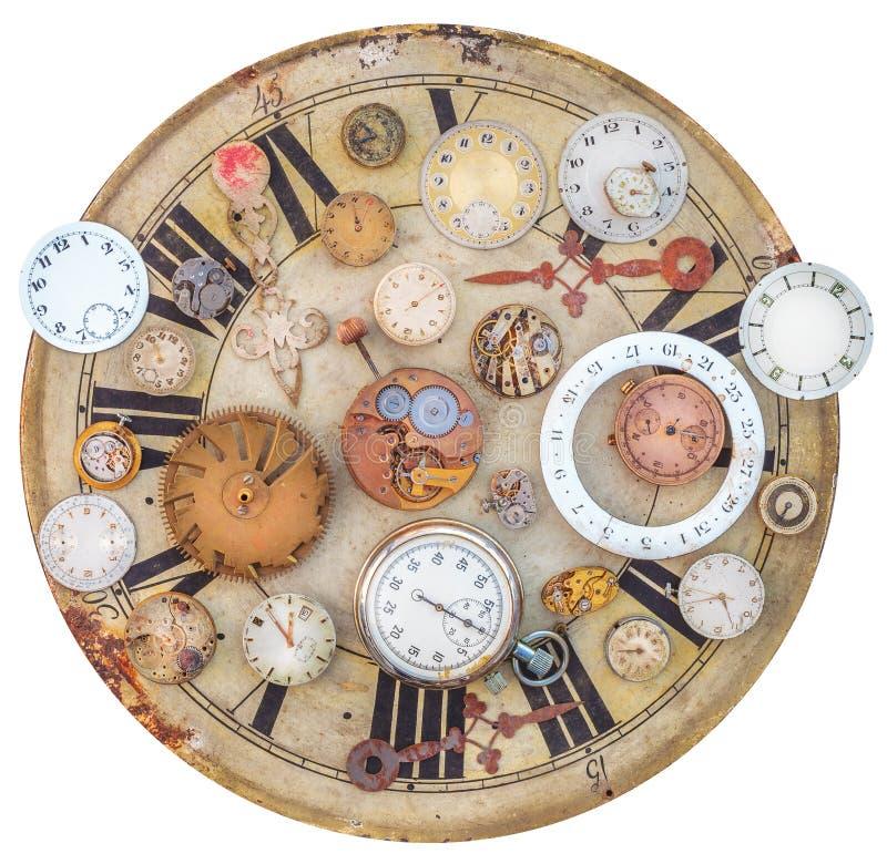 Colección de relojes del vintage y de piezas oxidados del reloj imagen de archivo libre de regalías