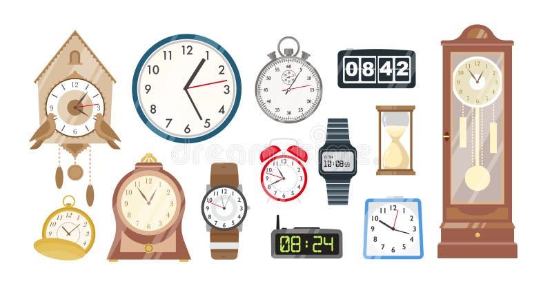 Colección de relojes, de relojes mecánicos y electrónicos y de reloj de arena aislados en el fondo blanco Sistema de dispositivos stock de ilustración