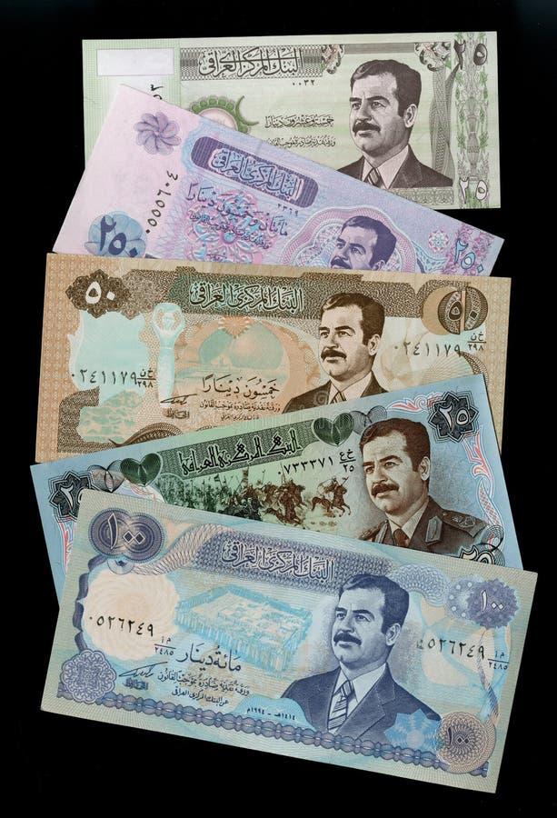 Colección de retrato Saddam Hussein de los dinares iraquíes de los billetes de banco foto de archivo libre de regalías