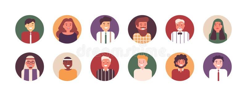 Colección de retratos del varón feliz y oficinistas o empleados de sexo femenino Paquete de gente o de vendedores sonrientes de ilustración del vector