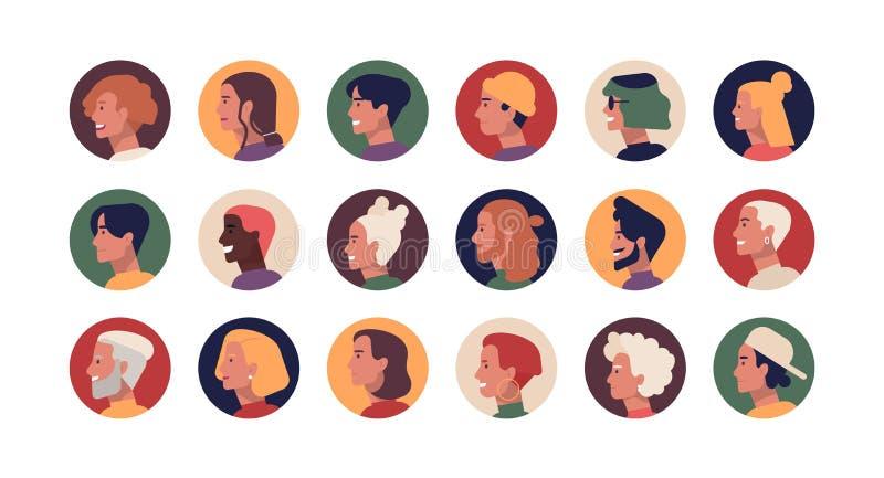 Colección de retratos redondos del perfil de hombres y de mujeres elegantes jovenes y mayores con los diversos peinados Paquete d stock de ilustración