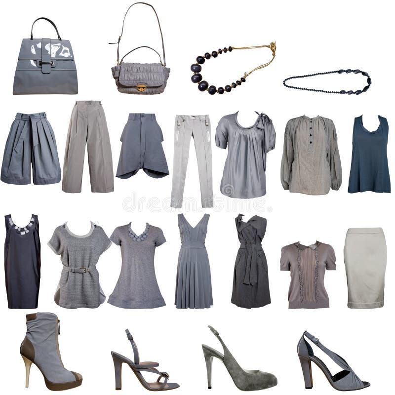 Colección de ropa y de accesorios grises imágenes de archivo libres de regalías