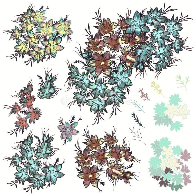 Colección de rosas en colores pastel realistas del vector para casarse el diseño i stock de ilustración