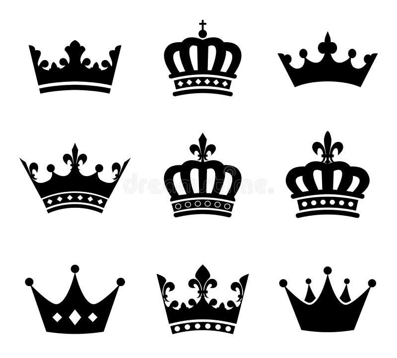 Colección de símbolos de la silueta de la corona fotos de archivo libres de regalías
