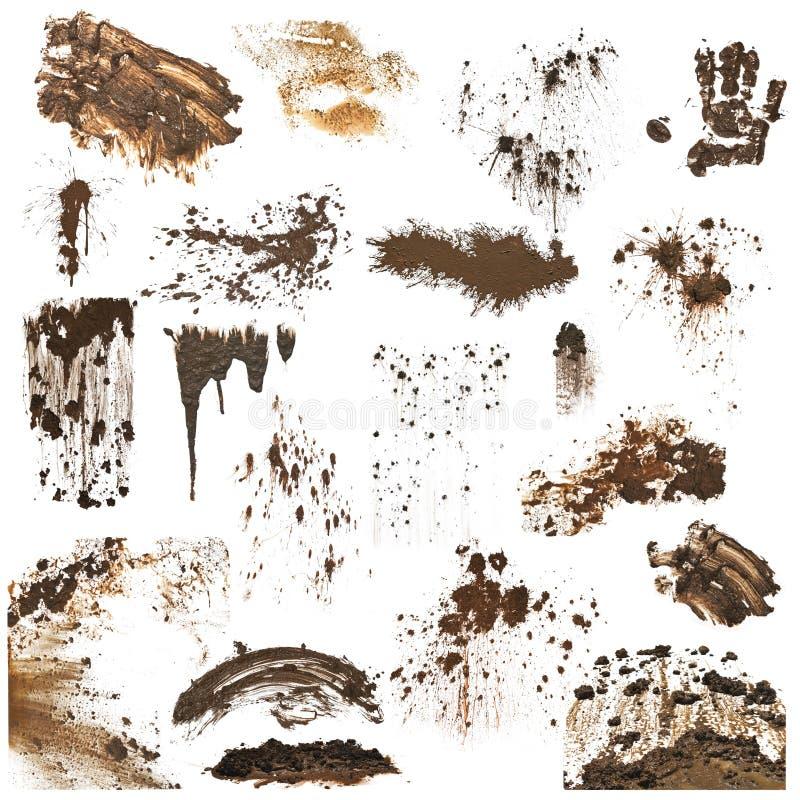 Colección de salpicaduras del fango fotografía de archivo libre de regalías