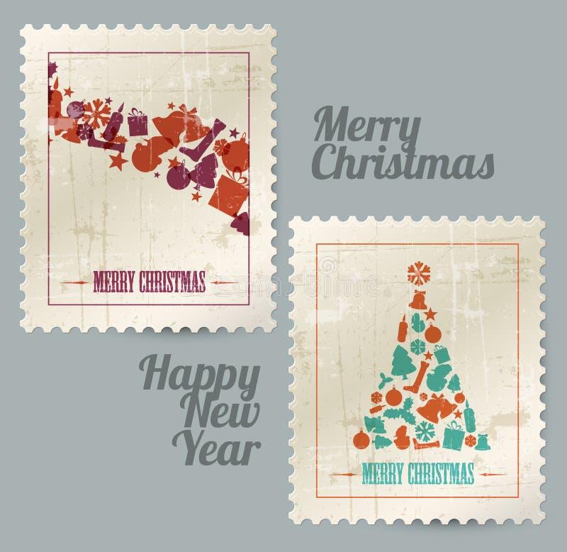 Colección de sellos de la vendimia de la Navidad del vector ilustración del vector