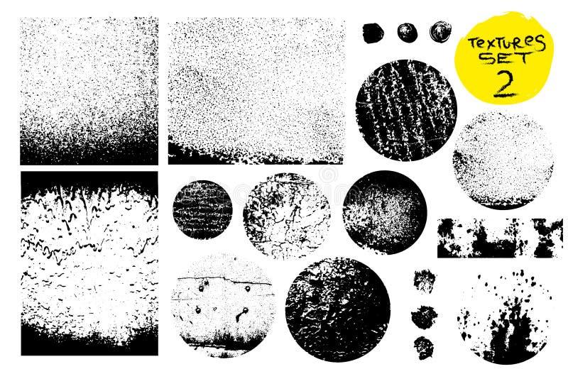 Colección de sellos de los posts del Grunge, círculos Banderas, insignias, logotipos, iconos, etiquetas e insignias fijados Textu stock de ilustración