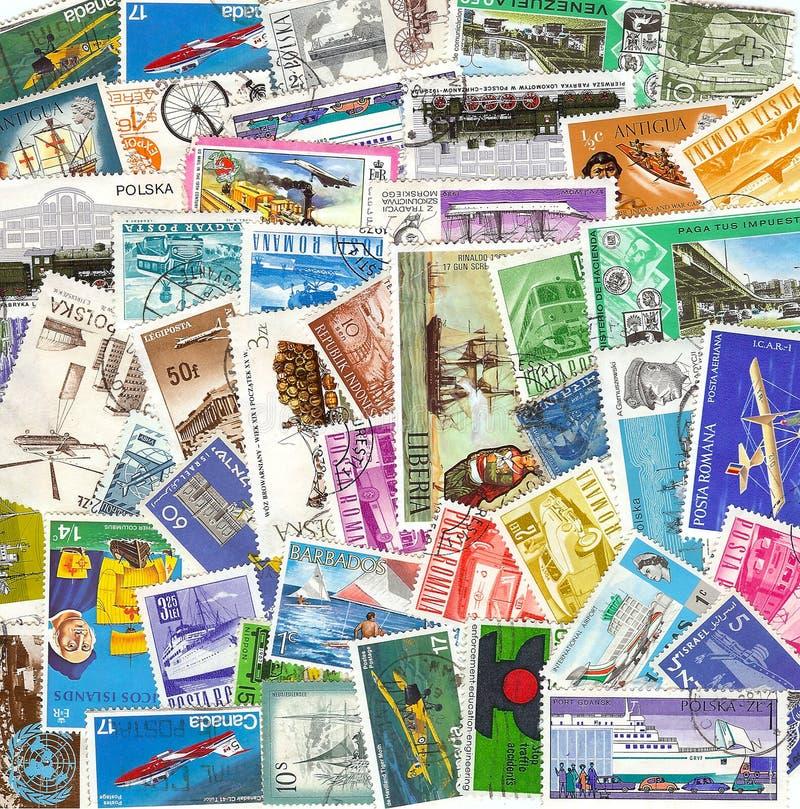 Colección de sellos del transporte de la vendimia de d foto de archivo libre de regalías
