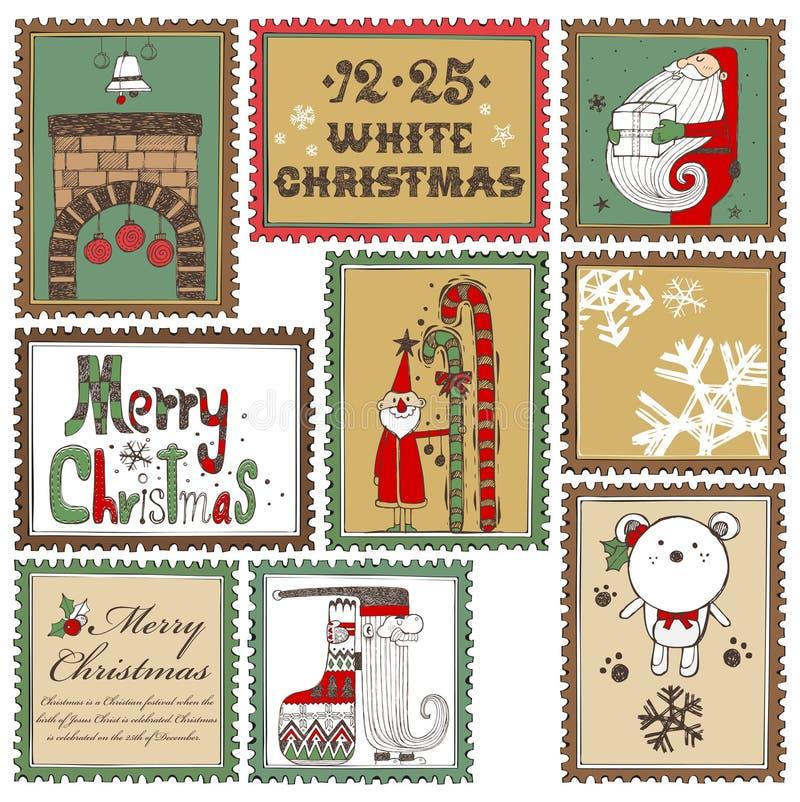 Colección de sellos dibujada mano de la Navidad B libre illustration