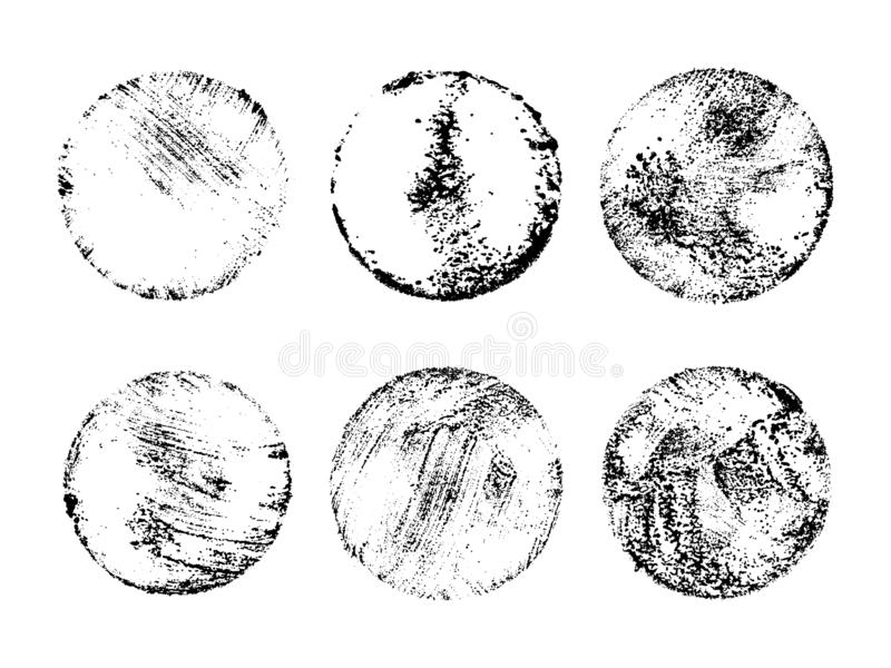 Colección de sellos de los posts del Grunge, círculos Banderas, logotipos, iconos, etiquetas e insignias fijados El vector apenó  stock de ilustración