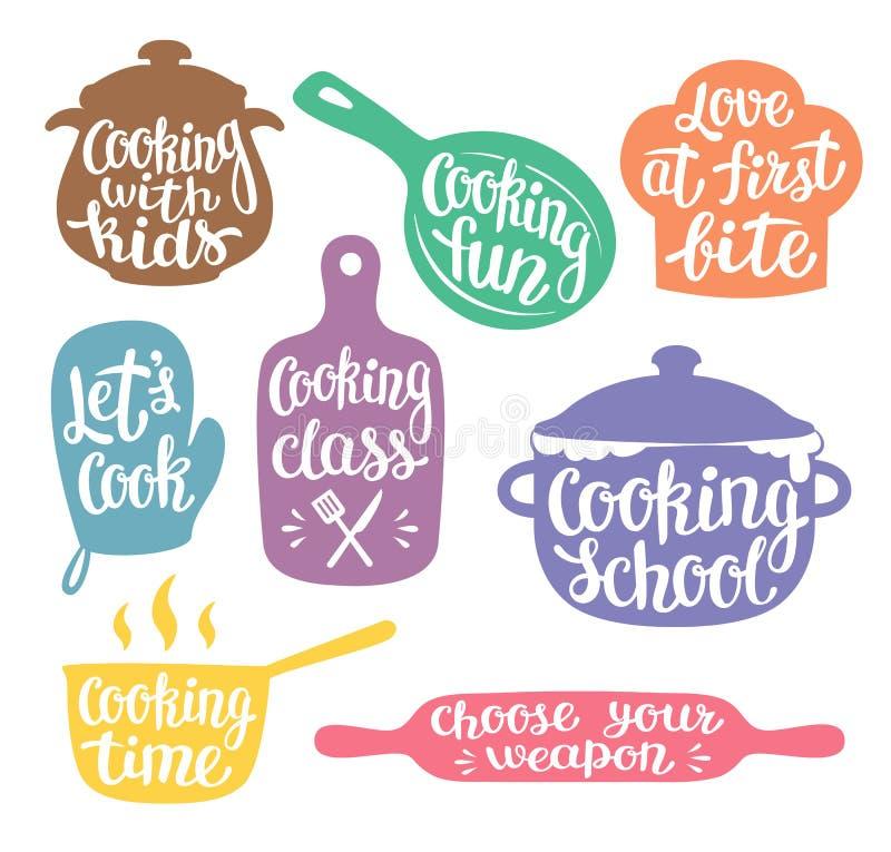 Colección de siluetas coloreadas para cocinar la etiqueta o el logotipo libre illustration