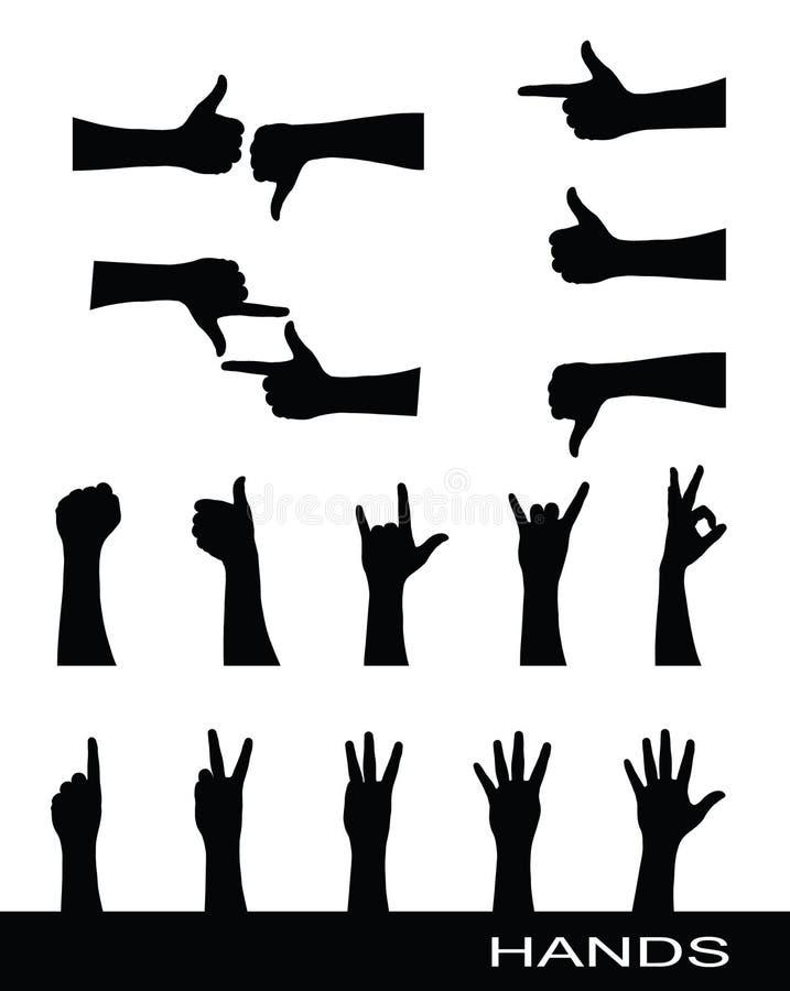 Colección de siluetas de la muestra de la mano libre illustration