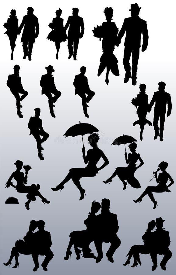 Colección de siluetas de pares de la gente ilustración del vector
