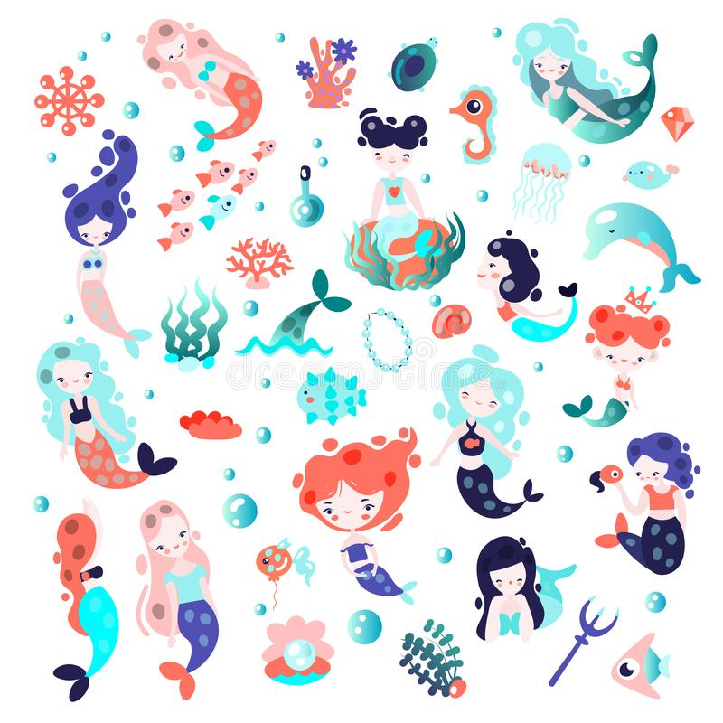 Colección de sirenas lindas de la historieta del vector con los elementos del sealife y plantas y animales subacuáticos Conchas m libre illustration