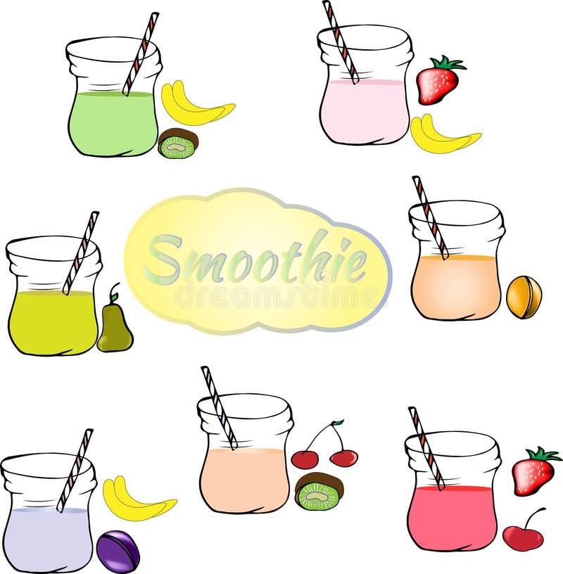 Colección de smoothies sanos de la fruta en estilo del garabato Jui fresco ilustración del vector