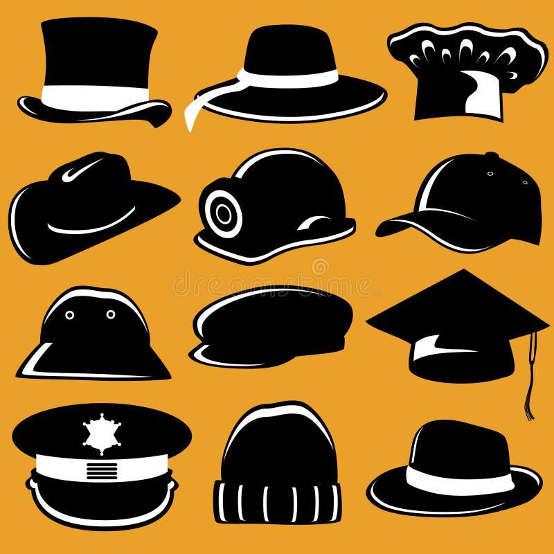 Colección de sombrero ilustración del vector