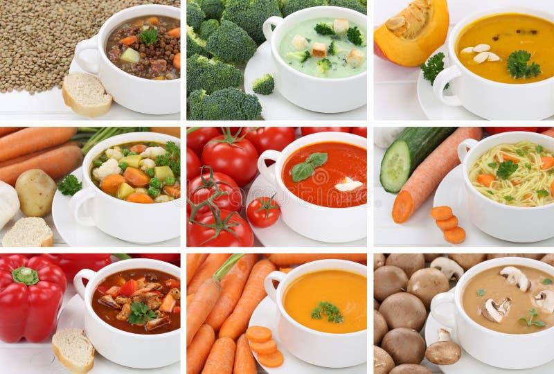 Colección de sopa de las sopas en el primer vegetal de los tallarines del tomate de la taza imágenes de archivo libres de regalías