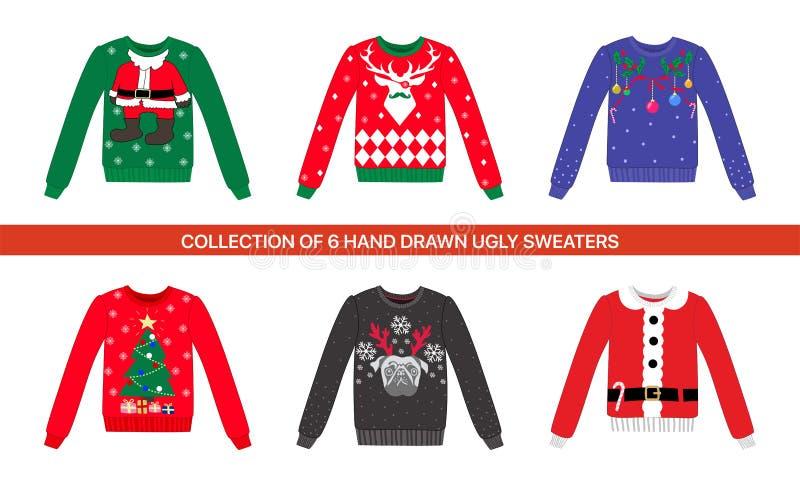 Colección de suéter feo colorido del vector de la fiesta de Navidad tradicional 6 con el reno, perro, ciervo, traje de Papá Noel, ilustración del vector