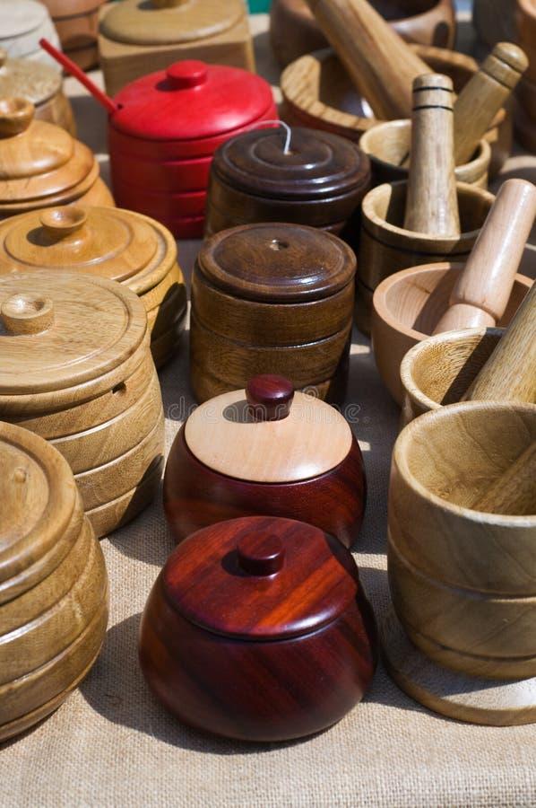 Colección de sugarbowls de madera foto de archivo