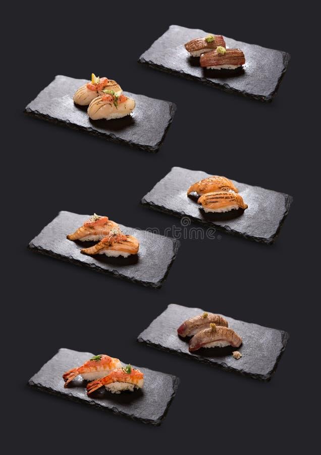 Colección de sushi de Aburi (Torched) fotos de archivo libres de regalías