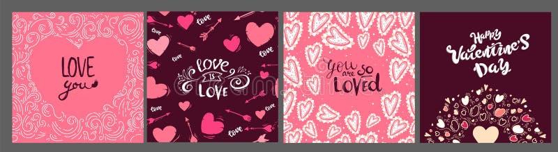 Colección de tarjeta del rosa, blanca de tarjeta del día de San Valentín coloreada del día, de venta y de otras plantillas del av ilustración del vector