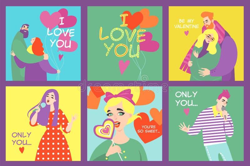 Colección de tarjetas de día de San Valentín del vector con los caracteres divertidos en estilo colorido de la historieta ilustración del vector