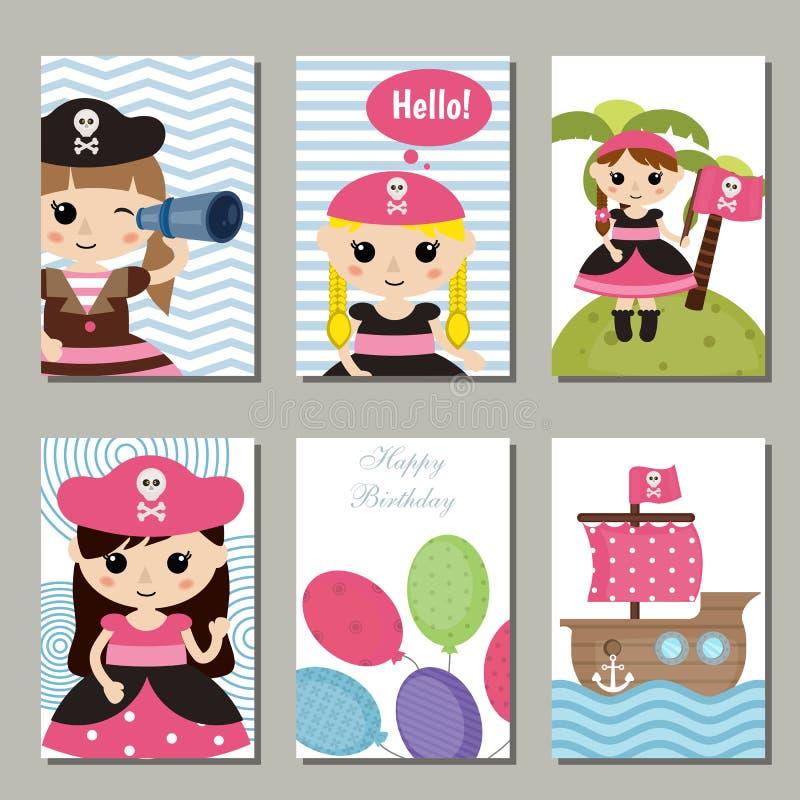 Colección de tarjetas de cumpleaños lindas libre illustration