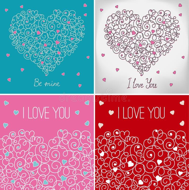 Colección de tarjetas de felicitación con el corazón floral ilustración del vector