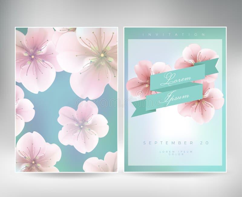 Colección de tarjetas de felicitación con un flor Sakura para su diseño textura con el estampado de flores japonés libre illustration