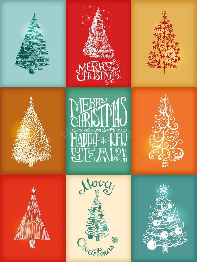 Colección de tarjetas de la Navidad dibujada mano del vector y del Año Nuevo libre illustration