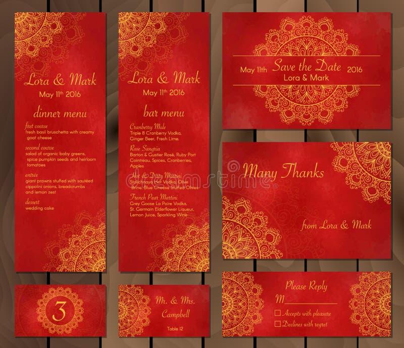Colección de tarjetas, de menú o de invitaciones étnico de la boda con el ornamento indio stock de ilustración